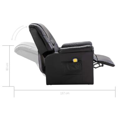 vidaXL Masažinis krėslas, elektrinis, dirbtinė oda, juodas[9/10]
