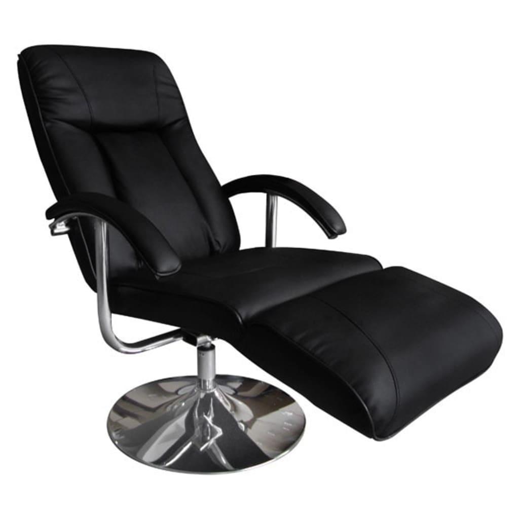 Afbeelding van vidaXL Massagefauteuil zwart vaste beenleuning metalen voet