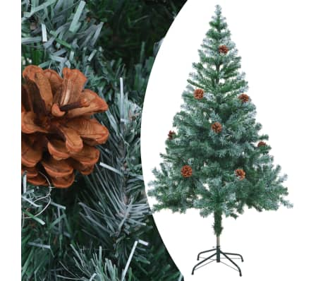 vidaXL Frosted Christmas Tree with Pinecones 150 cm