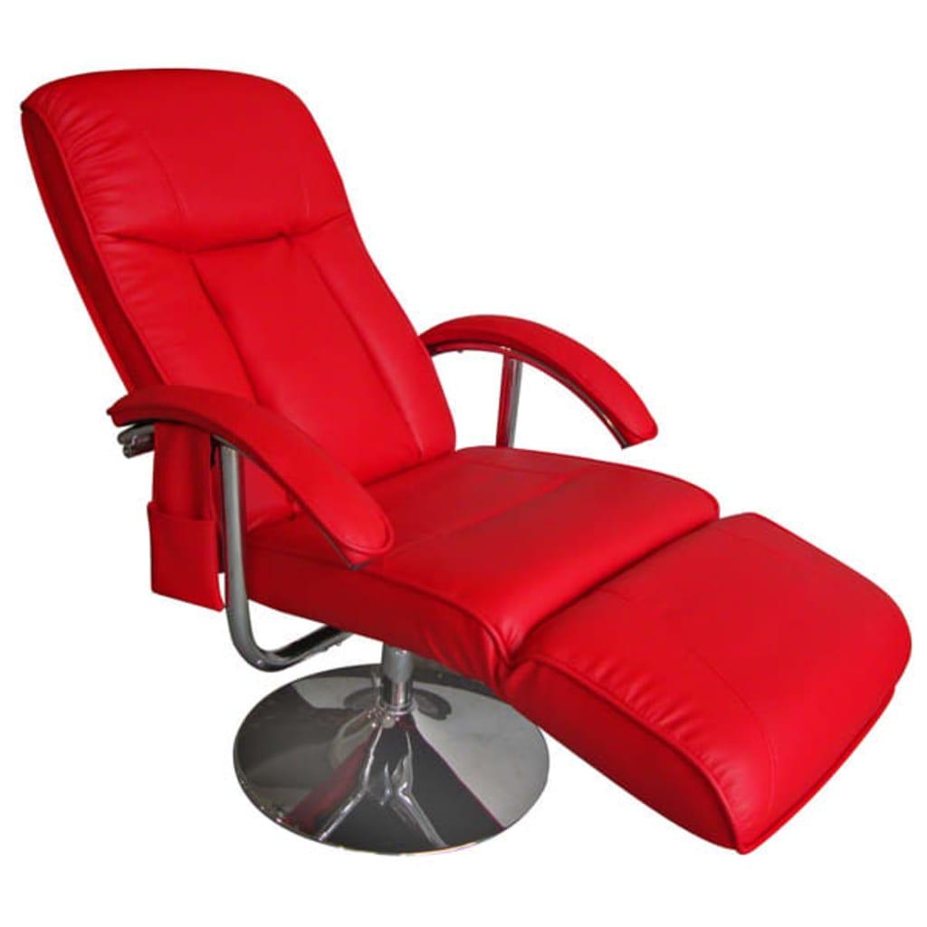 Afbeelding van vidaXL Massagefauteuil rood vaste beenleuning metalen voet
