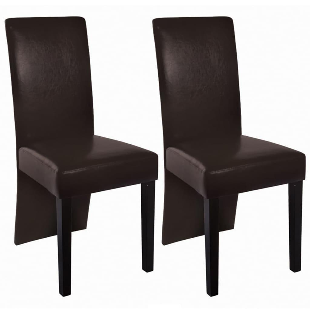 vidaXL Jídelní židle 2 ks z umělé kůže, tmavě hnědé