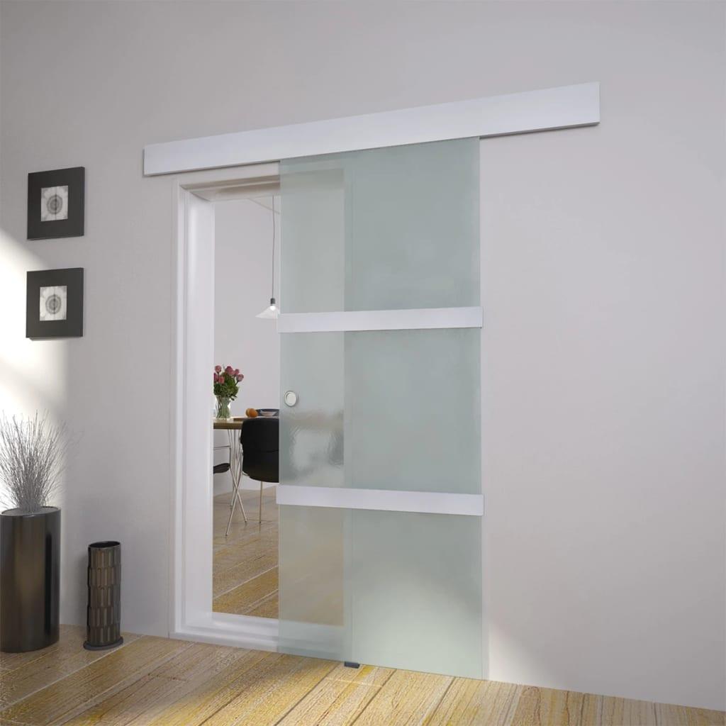 Posuvné dveře sklo a hliník 178 cm stříbrné