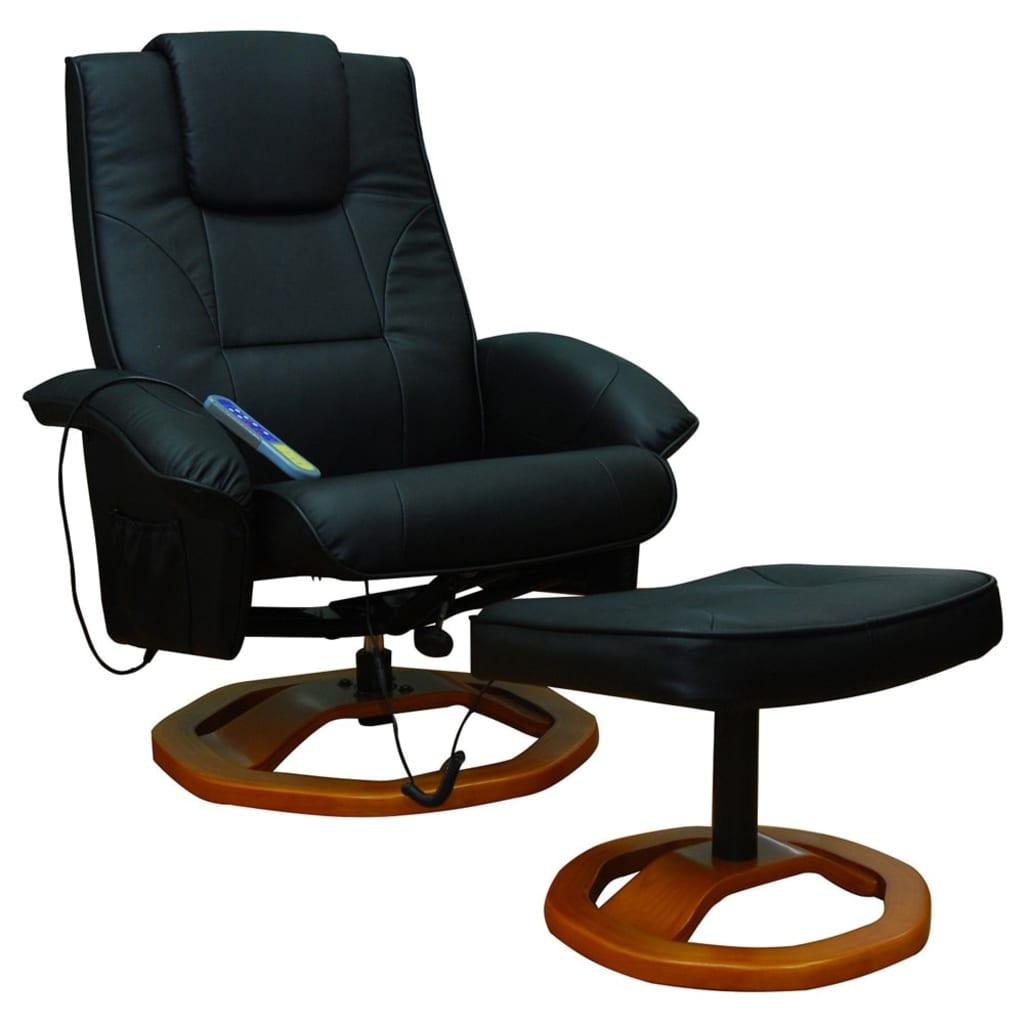 Masážní křeslo se stoličkou černé umělá kůže
