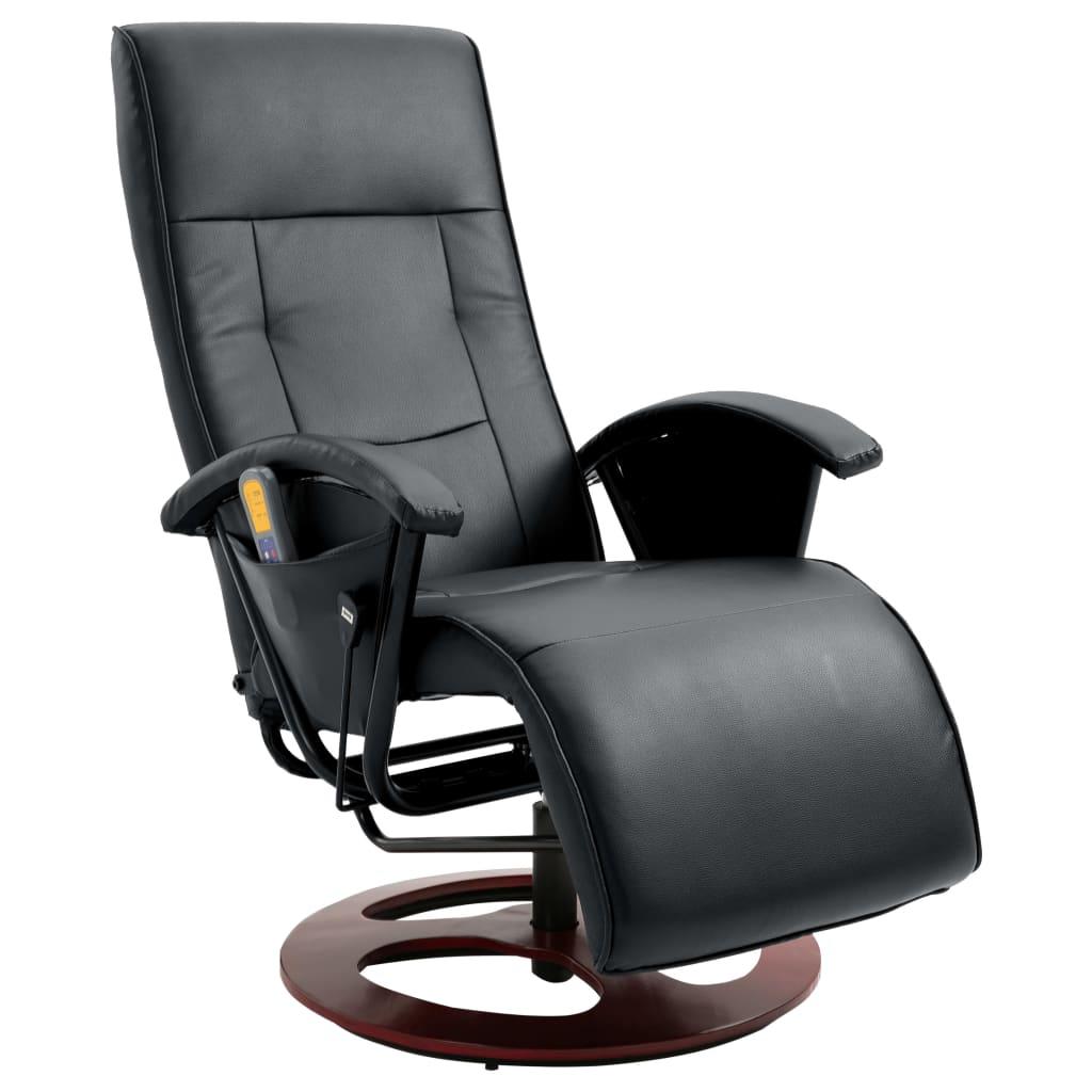 vidaXL Elektrické masážne kreslo z umelej kože, čierne