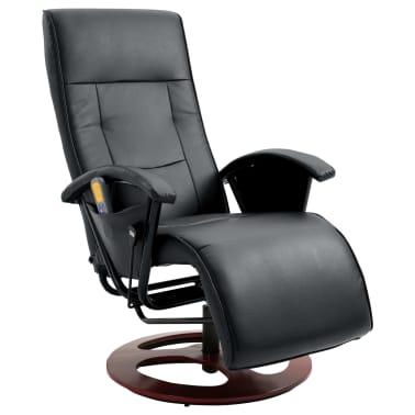 vidaXL Električni masažni stol umetno usnje črne barve[1/6]