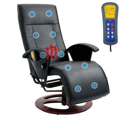 vidaXL Električni masažni stol umetno usnje črne barve[2/6]