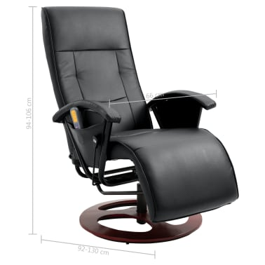vidaXL Fauteuil de massage Noir Similicuir[11/11]