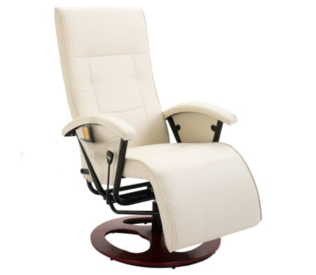 vidaXL Cadeira de massagem elétrica couro artificial branco nata[1/8]