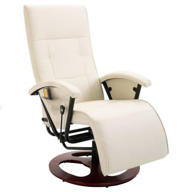 vidaXL Fauteuil électrique de massage Cuir synthétique Blanc crème[1/8]
