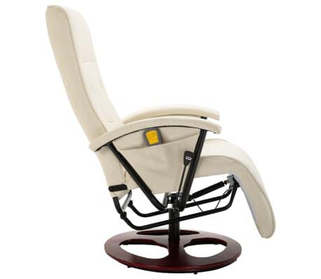 vidaXL Cadeira de massagem elétrica couro artificial branco nata[3/8]