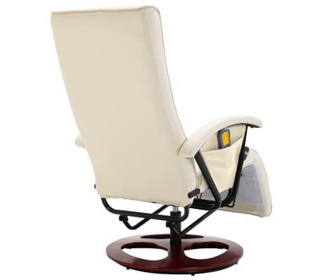 vidaXL Cadeira de massagem elétrica couro artificial branco nata[5/8]
