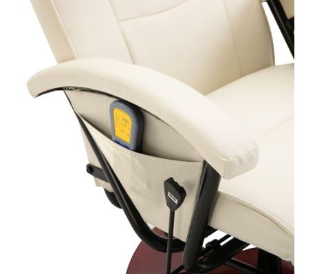 vidaXL Cadeira de massagem elétrica couro artificial branco nata[7/8]