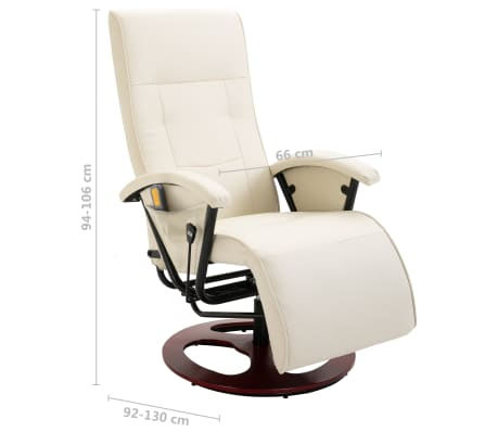 vidaXL Cadeira de massagem elétrica couro artificial branco nata[8/8]