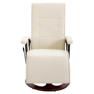 vidaXL Fauteuil électrique de massage Cuir synthétique Blanc crème[2/8]