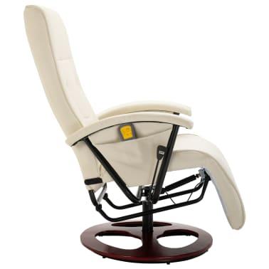 vidaXL Fauteuil électrique de massage Cuir synthétique Blanc crème[3/8]