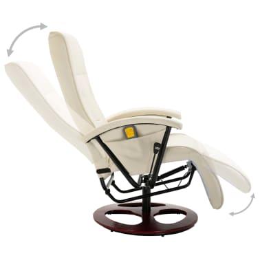 vidaXL Fauteuil électrique de massage Cuir synthétique Blanc crème[4/8]