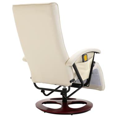 vidaXL Fauteuil électrique de massage Cuir synthétique Blanc crème[5/8]