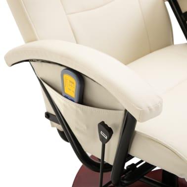 vidaXL Fauteuil électrique de massage Cuir synthétique Blanc crème[7/8]