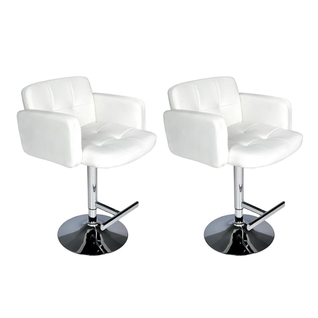 Set 2 barových židliček s opěrkami rukou: bílé