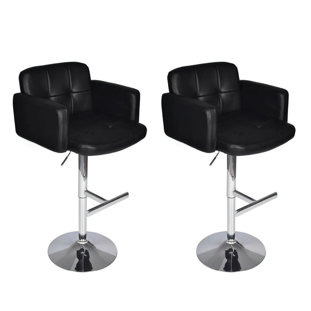 Set 2 ks barových polstrovaných židlí s opěrkou a područkami - černý