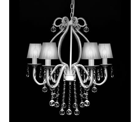 Chandelier Maria Theresa 6-arm m. Hvide lampeskærme[2/8]