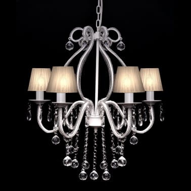 Chandelier Maria Theresa 6-arm m. Hvide lampeskærme[1/8]