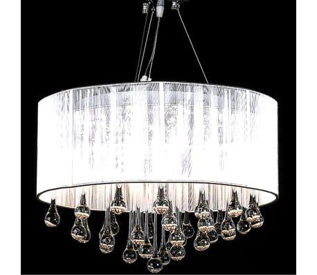 vidaXL Kristallkrona Maria Theresa med vit lampskärm[2/6]