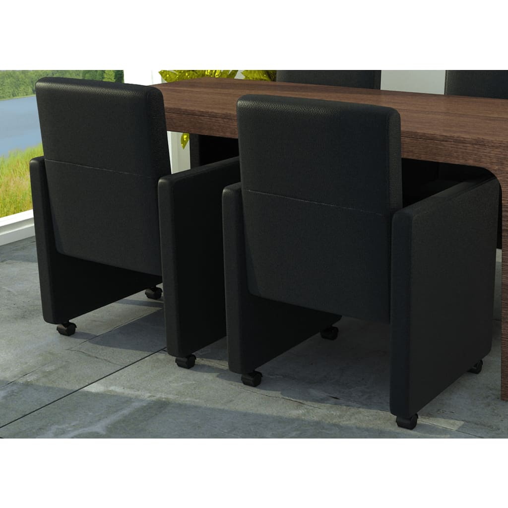 vidaXL Jídelní židle 2 ks umělá kůže, černá
