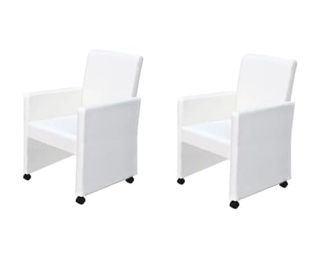 vidaXL Dining Chairs 2 pcs Artificial Leather White[1/9]