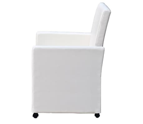 vidaXL Dining Chairs 2 pcs Artificial Leather White[3/9]