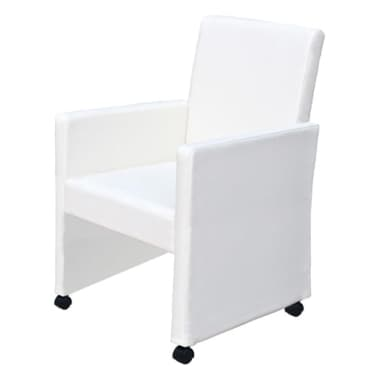 vidaXL Dining Chairs 2 pcs Artificial Leather White[2/9]