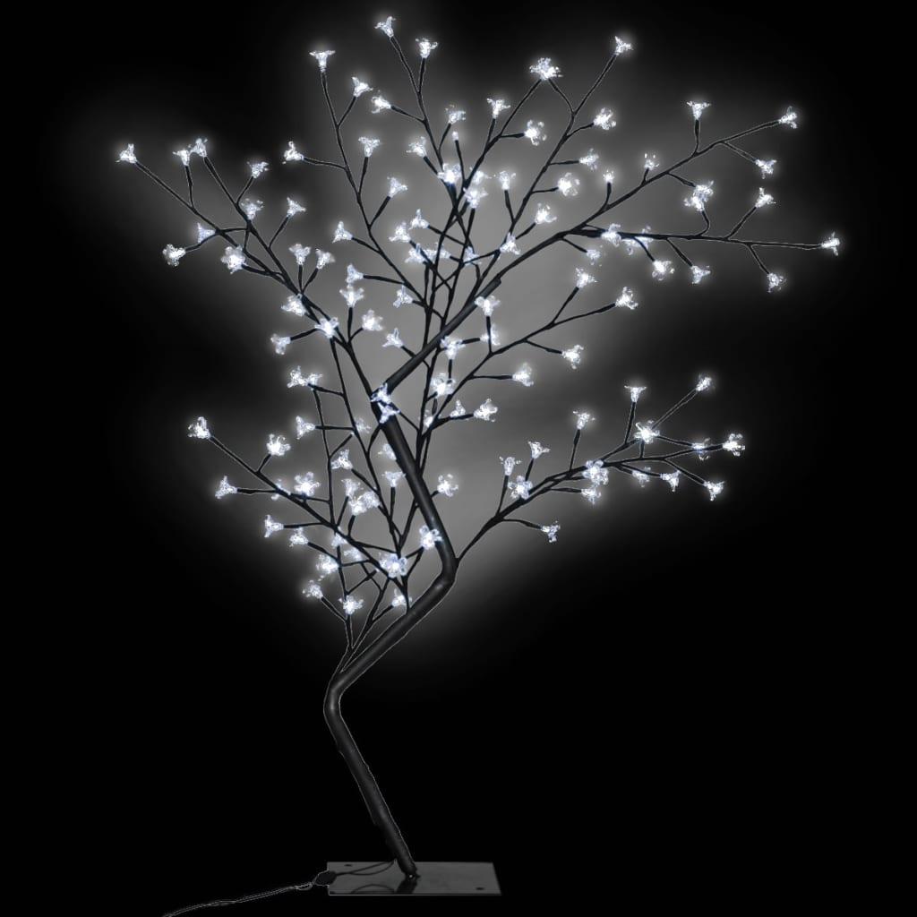 vidaXL Pom Crăciun, LED-uri lumină albă, flori de cireș, 120 cm poza 2021 vidaXL
