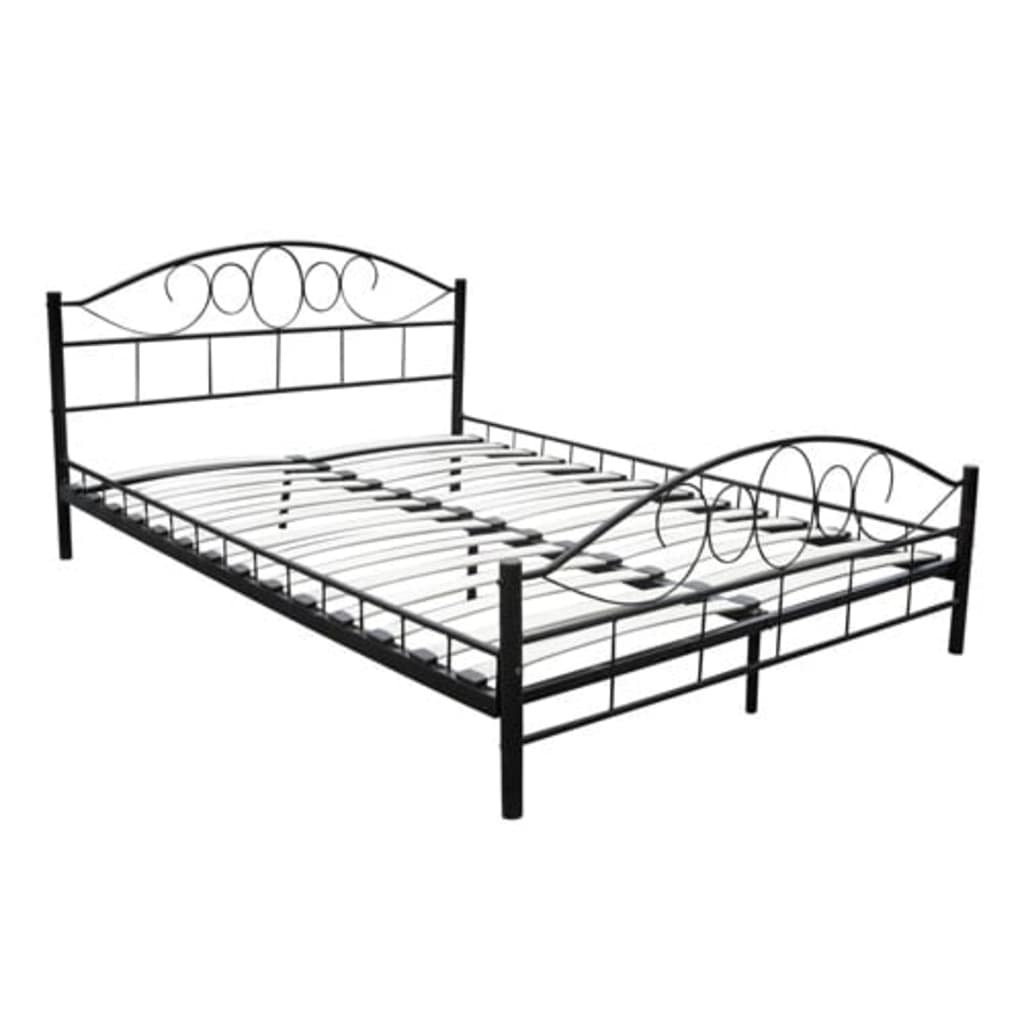 Kovová postel se spirálovým dekorem 180 x 200, černá