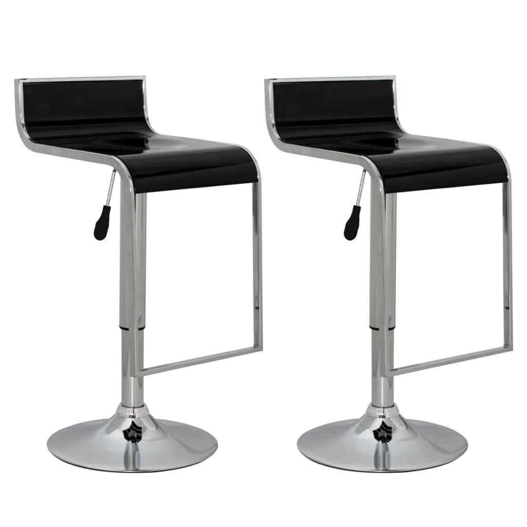 Barová židle s opěrkou 2 ks - černá