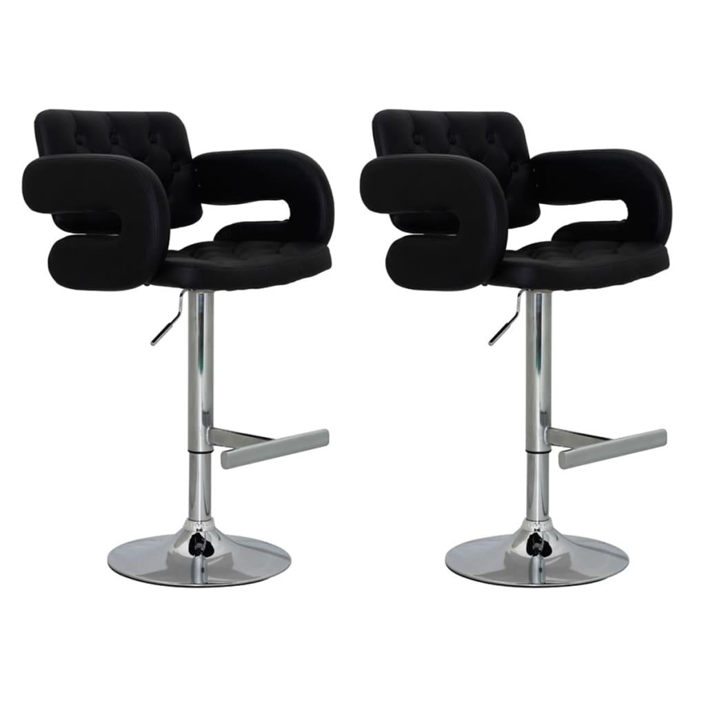Černá kožená barová židle s opěradlem a loketní opěrkou (2ks sada)