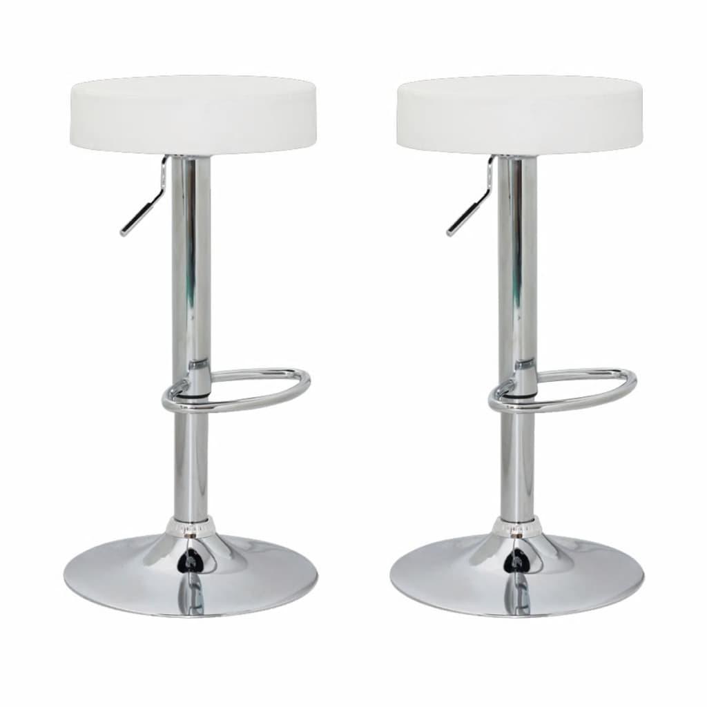 Barová židle bez opěradla bílá kůže (set 2 kusů)