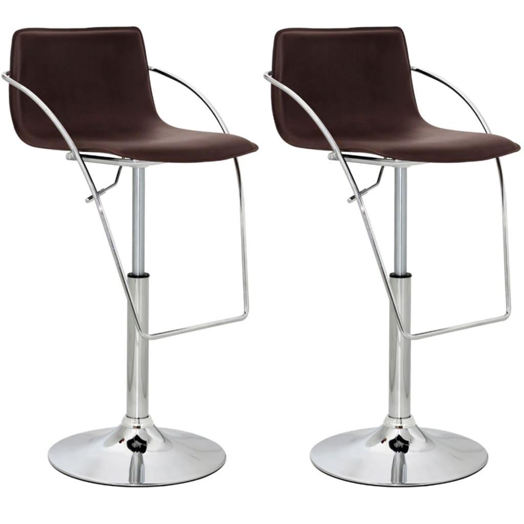 Barové židle s opěradly a područkami, černohnědá koženka, set 2 ks