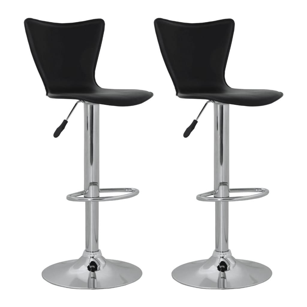 Barová židle s vysokou opěrkou - 2 ks - černá