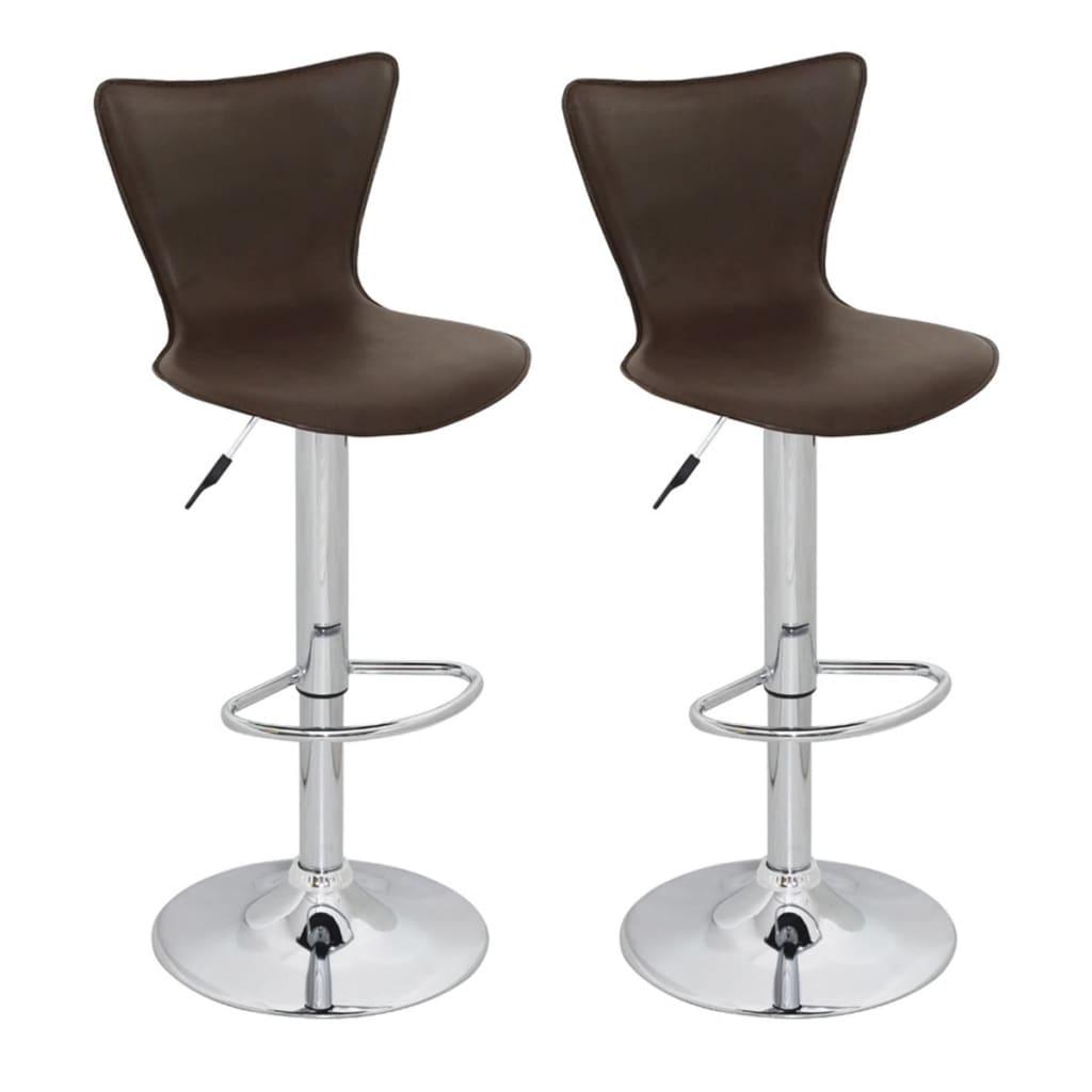 Barová židle s vysokou opěrkou - 2 ks - hnědá
