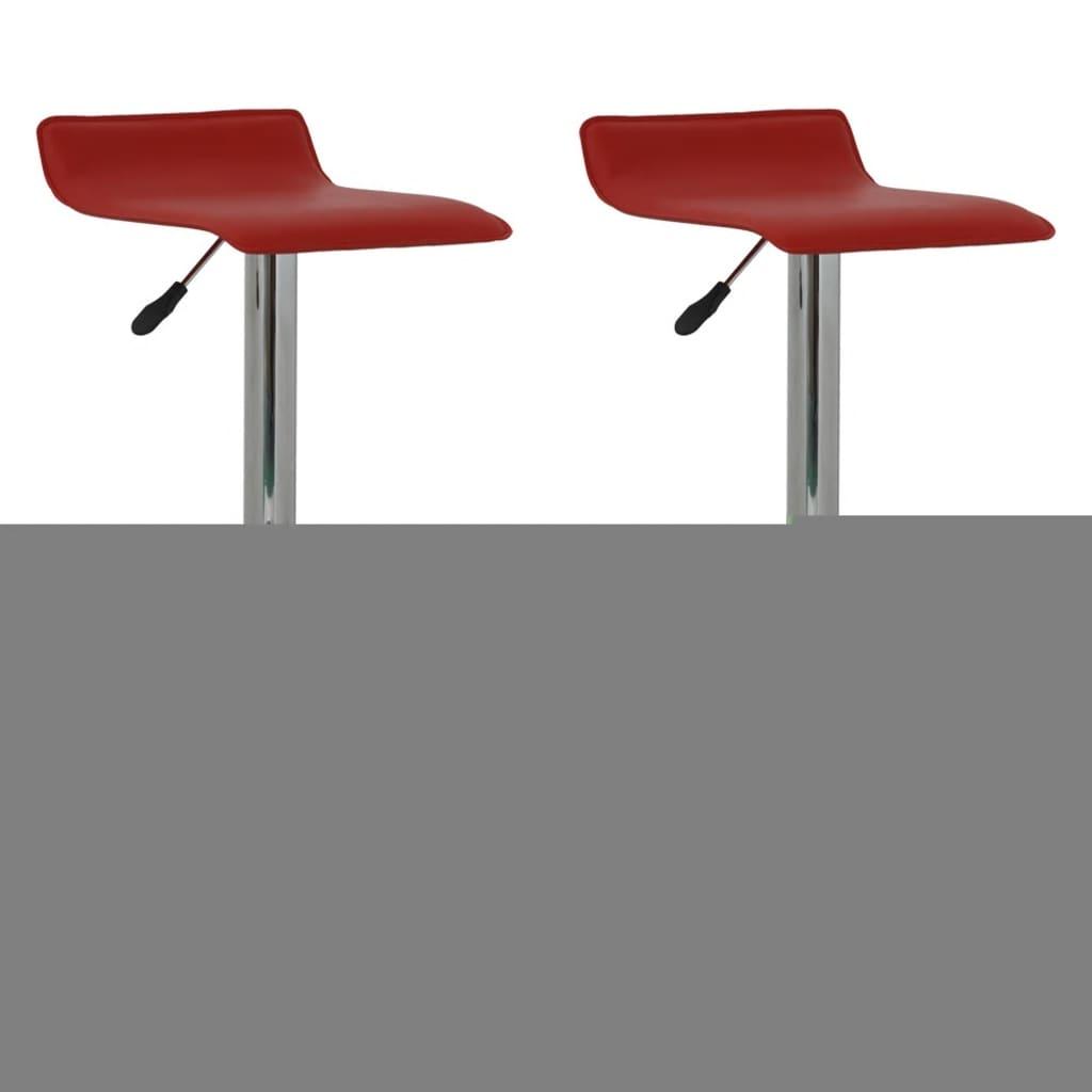 vidaXL Σκαμπό για μπαρ Επίπ. κάθισμα Κόκκινο Δέρμα (Σετ 2 τμχ)