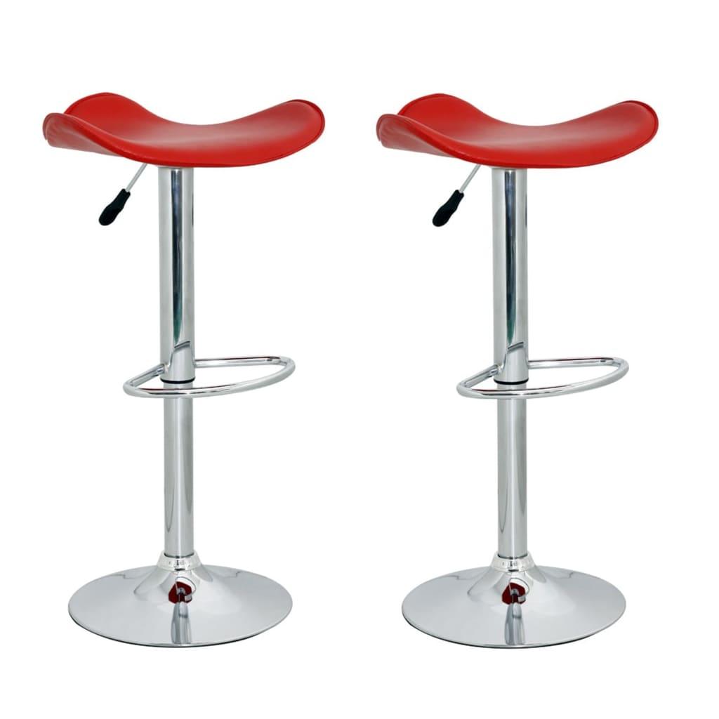 Barová stolička bez opěradla červená kůže (set 2 kusů)