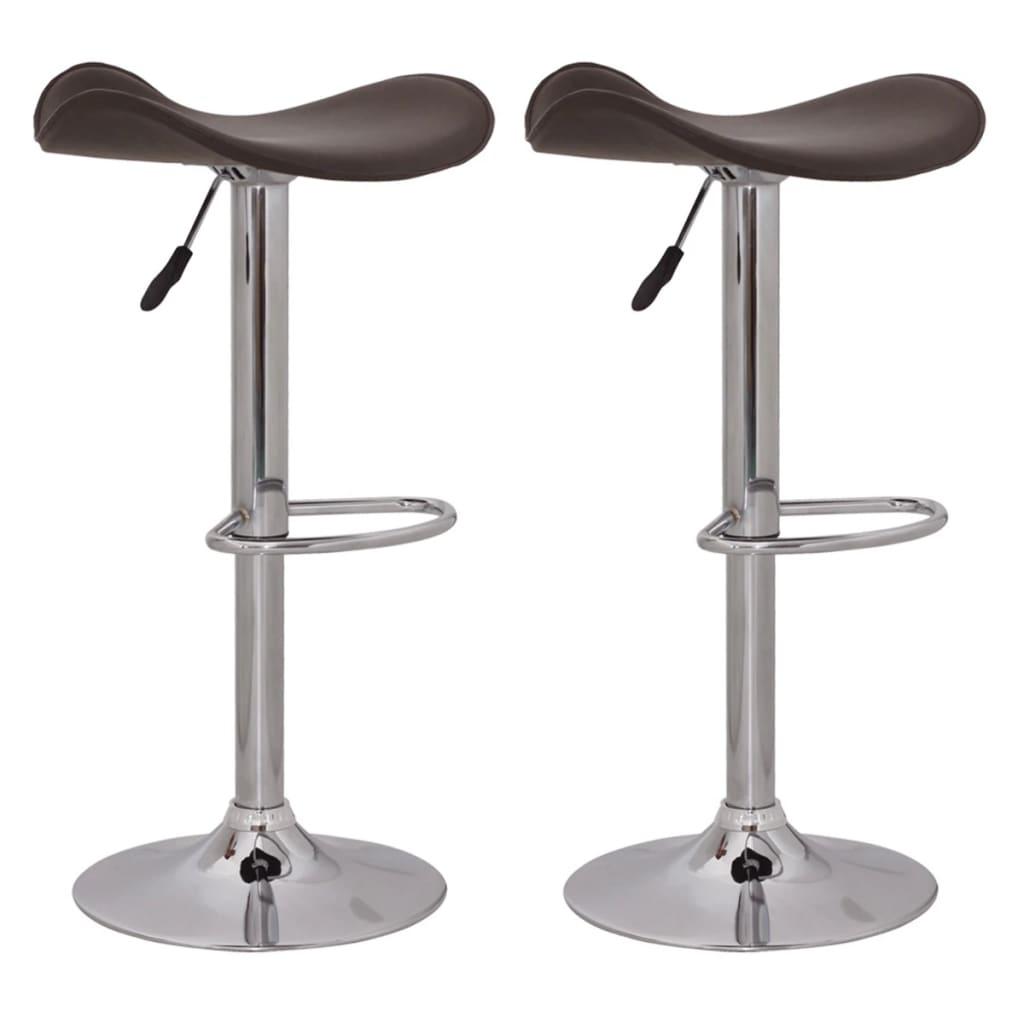 Barová stolička bez opěradla, hnědá kůže (set 2 kusů)