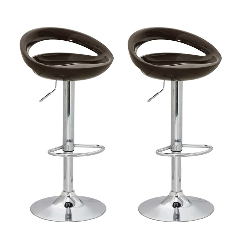Barové stoličky designové, hnědý ABS plast, set 2 ks