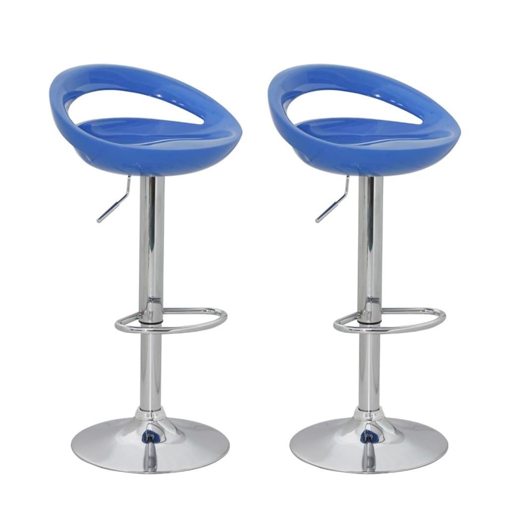 Barové stoličky designové, modrý ABS plast, set 2 ks