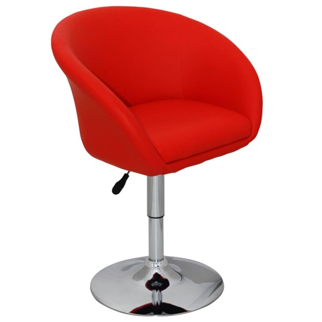 vidaXL Barová židle červená 63,5x55x75–91 cm