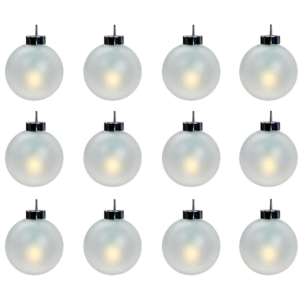 Afbeelding van vidaXL Kerstballen met LED-verlichting wit 12 stuks