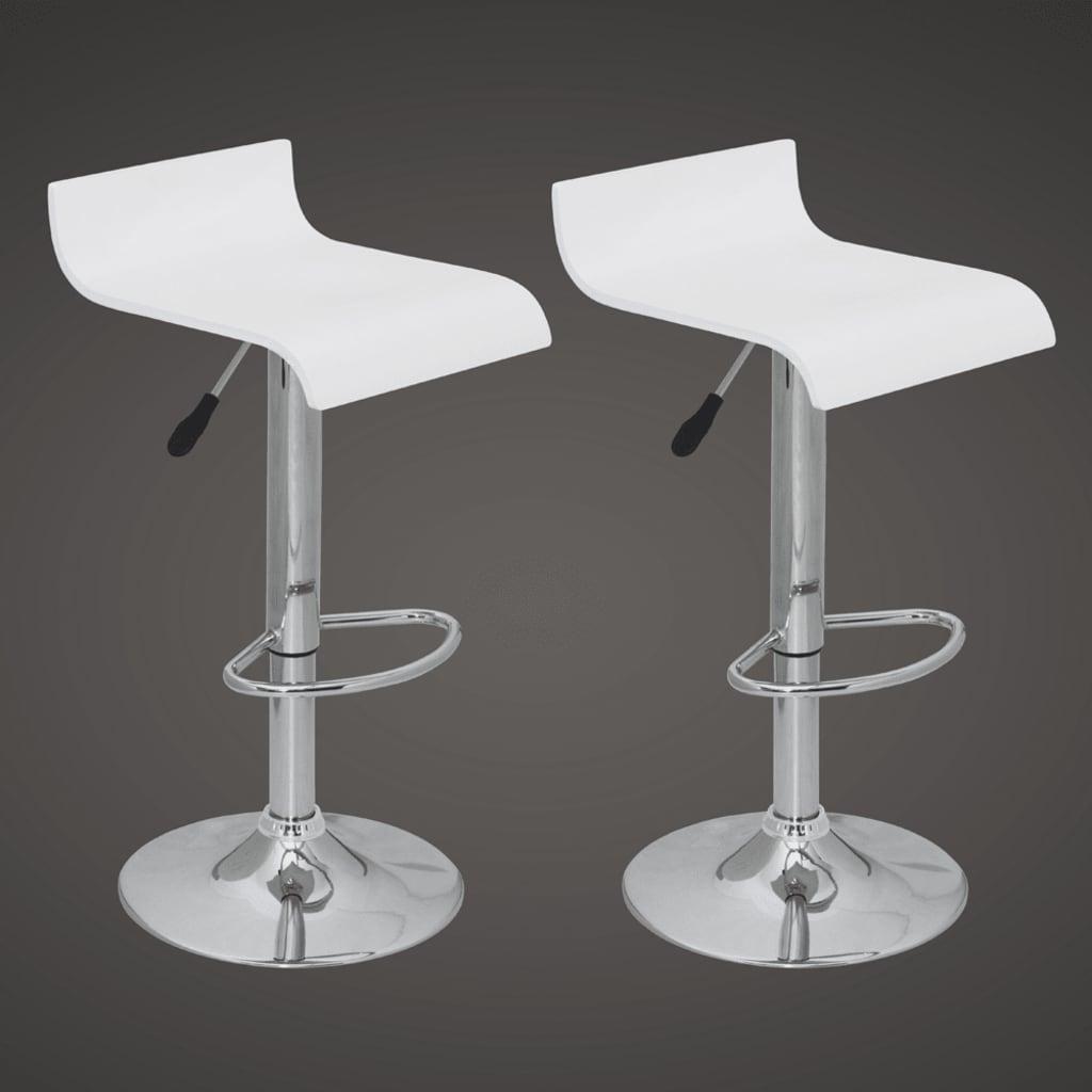 Barové stoličky s nízkým opěradlem, bílé dřevo (set 2 kusů)