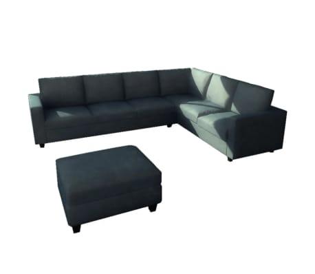 acheter vidaxl canap d 39 angle 6 places avec repose pied tissu pas cher. Black Bedroom Furniture Sets. Home Design Ideas