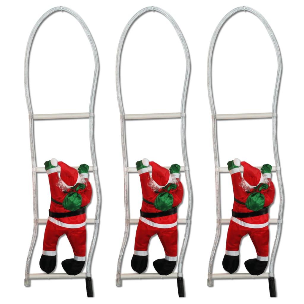 Afbeelding van vidaXL Kerstman op ladder 80 cm verlicht