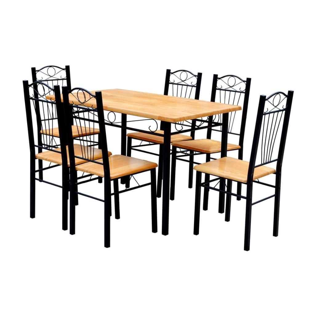 Masă cu 6 scaune din lemn de culoare deschisă poza vidaxl.ro